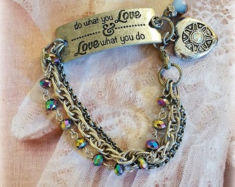 Silver Connector Bracelet, AB Glass Beads, Silver Chains, Assemblage Bracelet, Rhinestone Heart Charm, Repurposed and Upcycled Jewelry