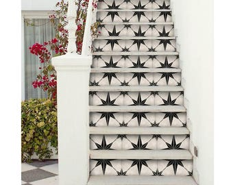 "Stair Riser Stickers - Removable Stair Riser Vinyl Decals - Astra Pack of 6 in Black - Peel & Stick Stair Riser Deco Strips - 48"" long"