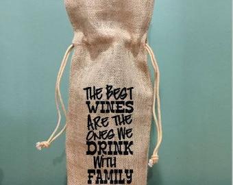 wine bag, burlap wine bag, wedding gift wine tote, family gift, hostess gift