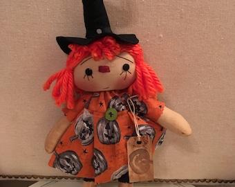 Little Halloween Witch Raggedy Annie-Primitve Raggedy Ann Dolls                                               FAAP