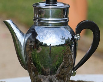 Original 1960's inox, stainless steel coffee pot and filter Cafetiere. Bakelite handle. French Vintage Shabby Chic