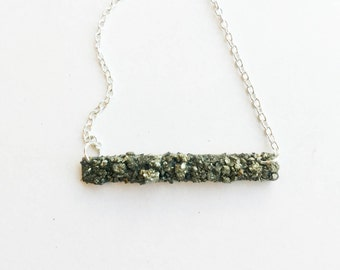 Crushed pyrite bar necklace