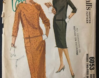 McCalls 6053 - 1960s Princess Seamed Overblouse with Front Slit and Slim Five Gore Skirt - Size 12 Bust 32