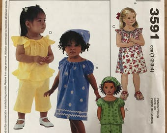 McCalls 3591 - Little Girl's Top or Dress with Ruffle Trim Options and Pants - Size 1 2 3 4