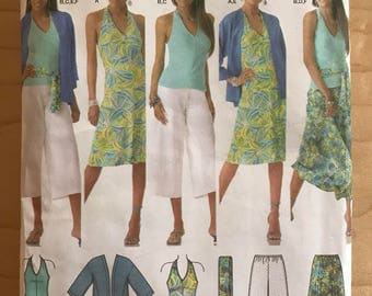 Simplicity 4193 - Summer Separtes with Halter Style Dress or Top, Kimono, Sash, Gaucho Pants, and Flared Skirt - Size 20 22 24 26 28
