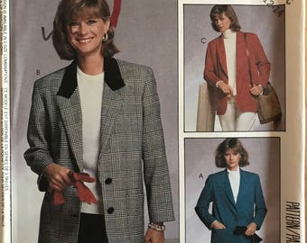 McCalls 3307 - 1980s Woman's Day Jacket with Shawl or Notched Collar and Patch Pockets - Size 10 12 14