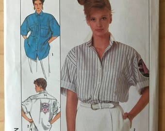 Simplicity 8497 - 1980s Very Loose Fitting Button Front Shirt with Shirttail Hem and Pointed Collar - Size 10 12 14