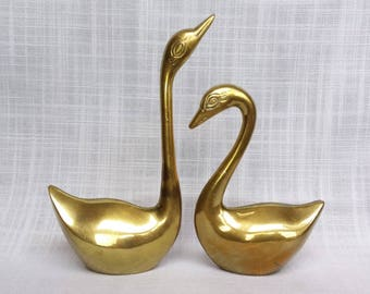 Pair of Large Solid Brass Swan Ring Holders, Set of Two Brass Swan Figurines, Jewelry Storage Brass Swans, Wedding Rings Holders # 2