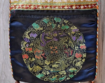 Found Chinese Silk Brocade Shoulder Bag with Fortune Inside
