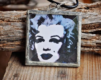 Necklace - Handmade Soldered Square Pendant w/ Marilyn Monroe Image (Bohemian, Gypsy, Hippie)