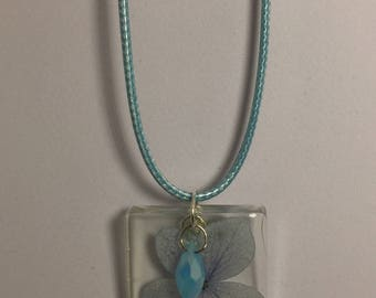 Blue Wildflower Necklace with Blue Crystal