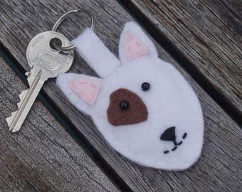 Bull terrier keyring - Dog keyring, Bull terrier gift, Dog gift, Miniature bull terrier, Felt keyring, Bull terrier charm, Stocking filler
