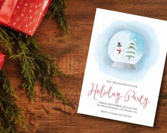 Holiday Party Invitation, Christmas Invitation, Snow Globe Invitation, Winter Invitation, Printable Christmas Invite, Christmas Party Invite