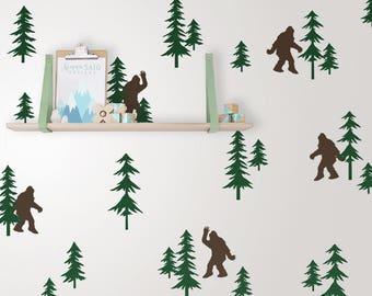 Friendly Sasquatch in the Forest Wall Decal Set - Bigfoot Decals, Forest Decals, Pine Tree Decals, Woodland Nursery Decals, Sasquatch Decals