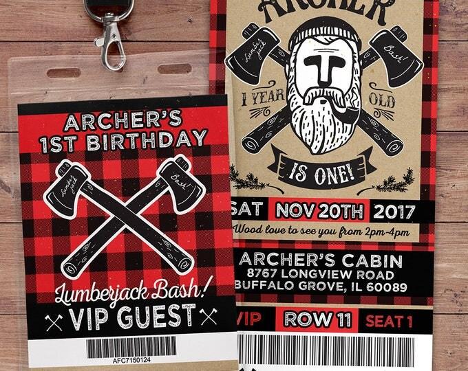 ANY AGE,Lumberjack birthday Invitation //  Buffalo Plaid Woodland Invitation // Lumberjack Invite // Rustic  //  camping, outdoors