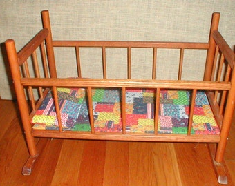 Vintage N.D. Cass Wooden Rocking Doll Cradle Crib Bed With Dolls