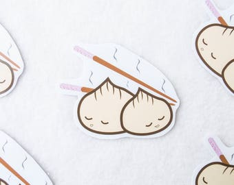 Japanese Dumplings Sticker Kawaii Cute Anime Cartoon Tv Show Asian Cuisine Food Art Drawing Digital Vector Chop Sticks Pot Stickers Buns