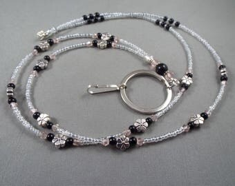 "Beaded breakaway lanyard pink and black glass pearls and crystals 32"" to 44"" ID badge holder with magnetic or toggle clasp  ,unique fashion"