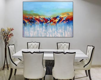 Large Canvas Art Abstract Painting Colorful Dining Room Wall Art Canvas Original Painting Ready To Hang Art Decor, Large Artwork Christovart