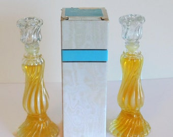Two (2) Vintage Avon Opalique Candlestick Glass Decanters Full of Charisma Cologne - Vintage Avon Cologne Decanters, Vintage Avon Products