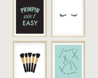 Primpin' Ain't Easy - Bobby Pins Print - Bathroom Art - Powder Room Art, Makeup Prints, Eyelashes, Makeup Brushes