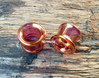 """24K Ruby Gold Colored Glass Tunnels 4g 2g 0g 00g 7/16"""" 1/2"""" 9/16"""" 5/8"""" 3/4"""" 1"""" 5 mm 6 mm 8 mm 10 mm 12 mm 14 mm 16 mm 18 mm 20 mm - 25 mm"""