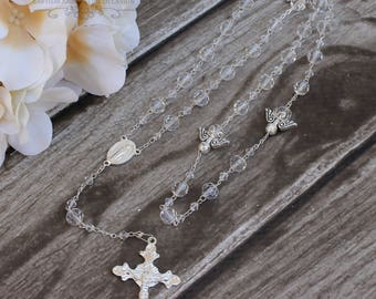 FAST SHIPPING!! Gold or Silver Handcrafted  Rosary, Wedding Rosary, Communion Rosary, Christening Rosary, Confirmation Rosary, Rosary Gift
