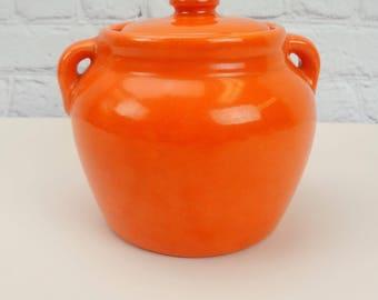 Bright Orange Bean Pot // Orange Pottery Casserole Dish With Lid // Vintage Cookware // 1950's 1960's // Vintage Kitchen