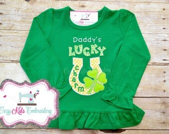 St. Patrick's Day Shirt, Daddy's Lucky Charm Shirt, Mommy's Lucky Charm Shirt, boy girl kid child baby toddler infant embroidery applique