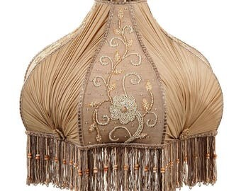 Elegant Victorian Style Softback Lamp Shade with Pleated Chiffon & Embroidered Panels