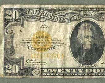 1928 Twenty Dollar Gold Certificate  FR 2402  GOLD SEAL  Woods Mellon Paper Money Currency