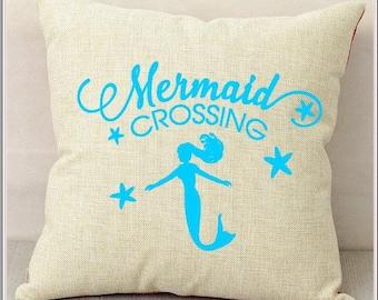 Mermaid Crossing Pillow