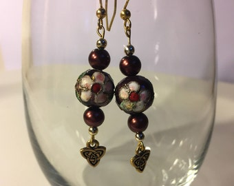 Burgandy, Pink Flower and Gold Beaded Earrings
