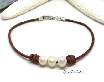 Pearl Anklet, Ankle Bracelet, Bohemian Anklet, Freshwater Pearl, Summer Anklet, Woman Anklet, Ladies Anklet, Girls Anklet, Gemstone Jewelry
