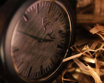 Ebony Wood Watch with Genuine Leather band. Natural Wooden Wristwatch, by WOODEER, designed in Europe. Hand Watch.