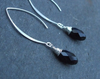 Black Swarovski crystal teardrop earrings on long Sterling Silver hooks, leverbacks, threaders or studs