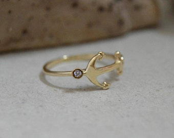 Diamond rings anchor, engagement rings,Gold anchor ring,Pink anchor ring solid gold, White gold  anchor ring.
