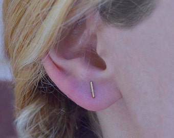 Bar earring studs,Minimalist bar earring,Dainty bar earrings,Bar earrings, Bar studs,Gold bar earring.