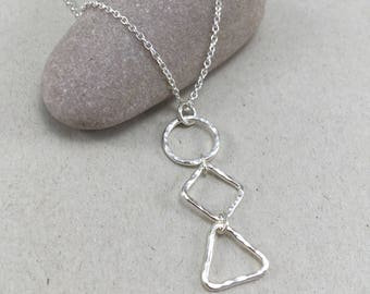 Silver Geometric Necklace, Silver Circle Square Triangle Necklace, Silver Geometric Pendant, Hammered Silver Pendant, Modern Necklace