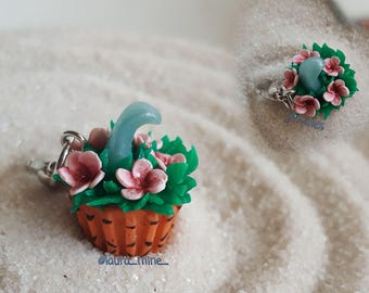Wave and flowers  cupcake charm