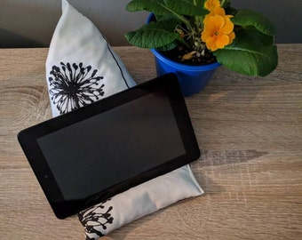 iPad Pillow Stand, Bedside Table Organizer, Kindle E-reader Tablet Rest, Alabaster Crisp White Jet Black Noir Dandelion for Spring Gardener