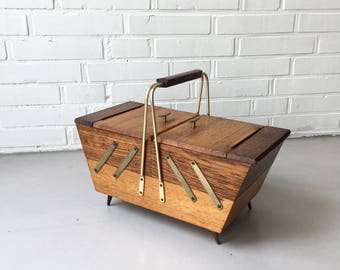 Vintage sewing box, mid century teak, sewing box, sewing basket sewing box, wooden box, Rockabilly