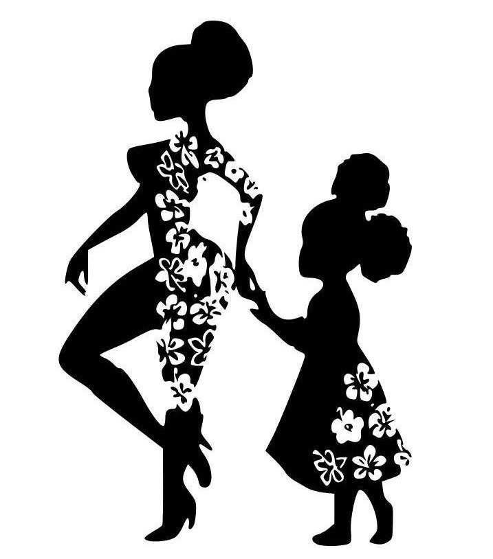 Mini Me Afro Girl Mother And Daughter Svg Digital Image