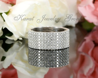 Ladies Halfway Six Rows Pave Wedding Band in 14k White Gold, Micro Pave Diamond Band, Wide Band (avail rose, yellow gold and platinum)