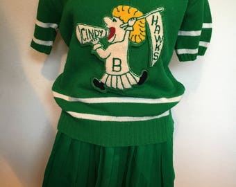 Vintage Cheerleader Sweater and Skirt Dehen Knits Size Med.