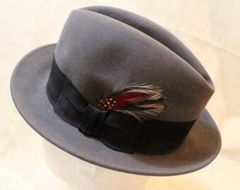 Vintage Harry Levinson Men's Dark Gray Fedora Dress Hat Size 7 56 cm Classic Style