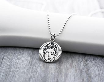 Buddha Head Necklace in Sterling Silver, Buddha Necklace, Buddha Jewelry, Buddha Jewelry Necklace, Buddhist Necklace, Zen Jewelry