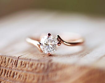 18k Gold Ring 18k Gold Engagement Ring Gold Solitaire Ring Gold Promise Ring Gold Anniversary Ring Gold CZ Ring 18k Gold Cubic Zirconia Ring