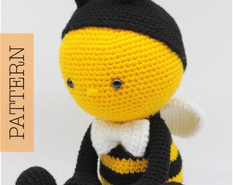 Crochet Amigurumi Bumblebee PATTERN ONLY, Humblebee, pdf Stuffed Animal Toy Pattern