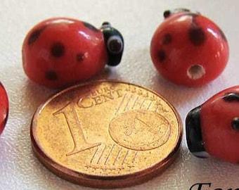 4 Perles Verre Lampwork Coccinelle 12mm rouge et noir DIY création bijoux